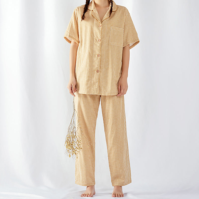 Couple Cotton Men And Women Short Sleeve Pajamas Suit