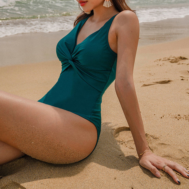 Cross Bust Solid Color Backless One-piece Swimwear