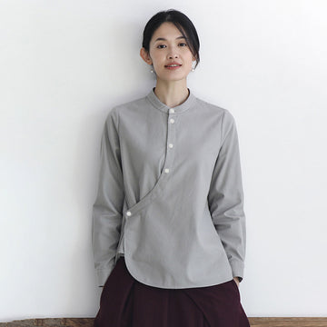 Buykud Hand-made Single Breasted Plus Size Shirt