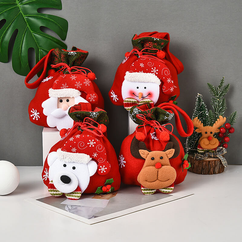 Cute Elk Snowman Christmas Candy Gift Bag(4 Pieces)