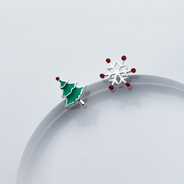 Cute Asymmetrical Christmas Earrings