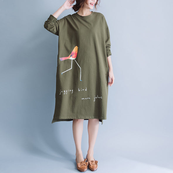 Cute Bird Print Cotton Loose Long Sleeve Dress