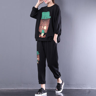 Cute Cartoon Print Loose Women Black Suit
