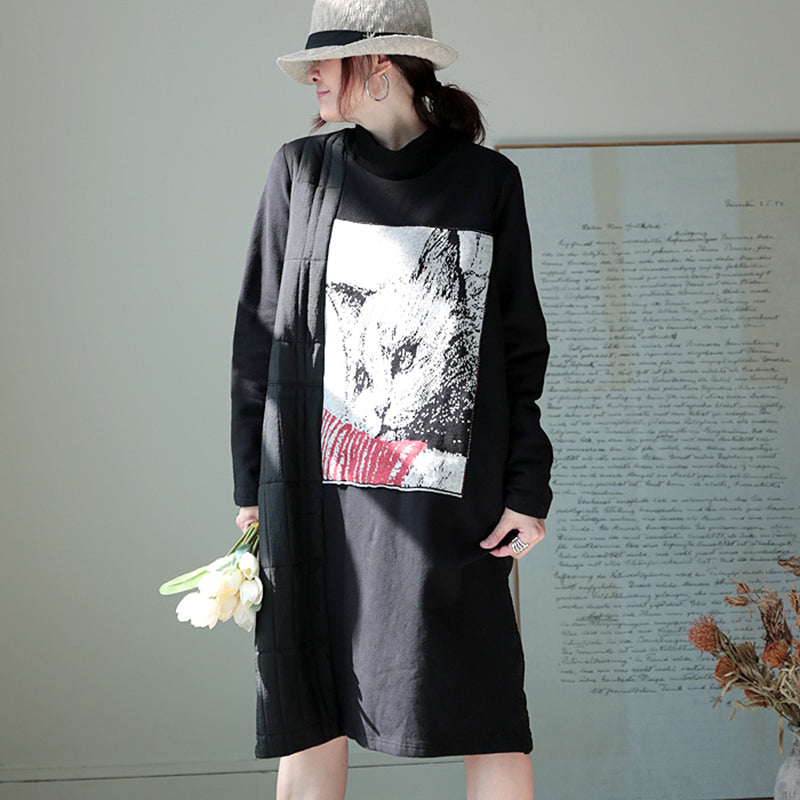 Cute Cat Patchwork Thick Thermal Dress