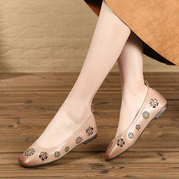 Cutout Flower Leather Loafers For Women