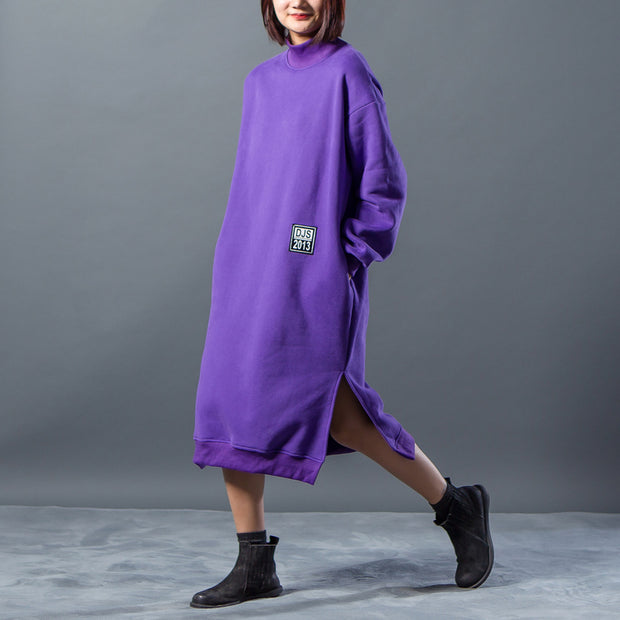 Letter Character Printing Split Winter Dress