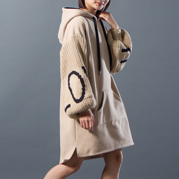 Hoodies Drawstring Spliced Split Winter Dress