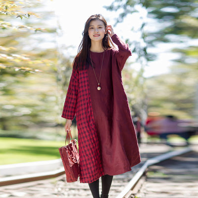 Vintage Plaid Spliced Long Sleeve Midi Dress