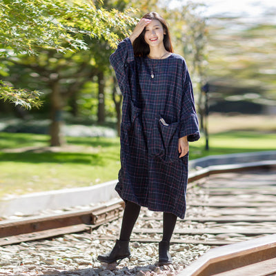 Plaid Long Sleeve Loose Winter Midi Dress