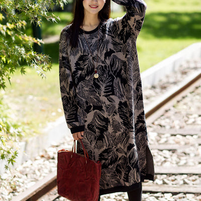 Knitting Split Flower Long Sleeve Dress