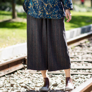 Retro Solid Women Wide Leg Pants