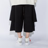 Loose Spliced Elastic Waist Black Calf Length Pants