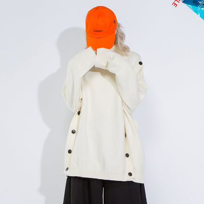 Loose Turtleneck Button Women Winter Sweater