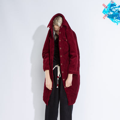 Corduroy Winter Women Loose Long Coat