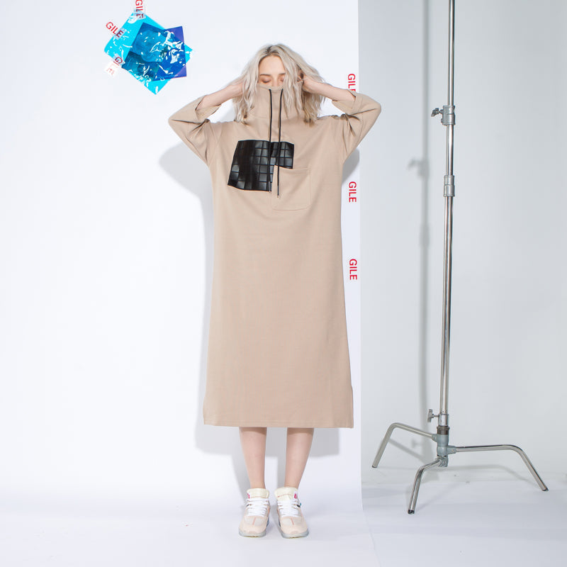 Knitting Patchwork Hoody Midi Loose Dress