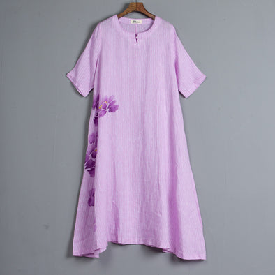 Round Neck Short Sleeve Pockets Stripe Pink Dress
