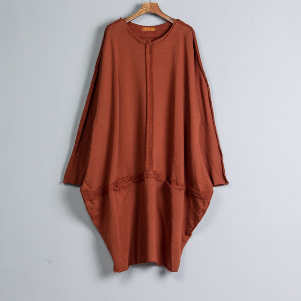 Round Neck Long Sleeve Brown Pockets Dress