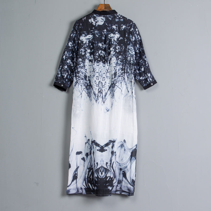 Three Quarter Sleeve Single Breasted Printed Dress