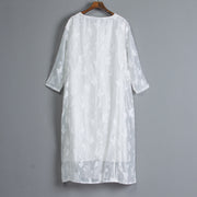 Women Casual Embroidery Long Sleeve White Dress