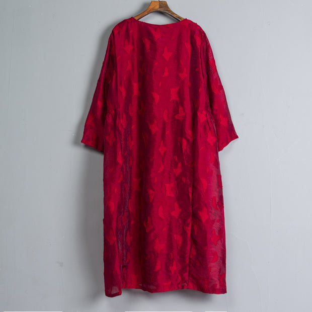 Long Sleeve Pleated Long Wine Red Dress