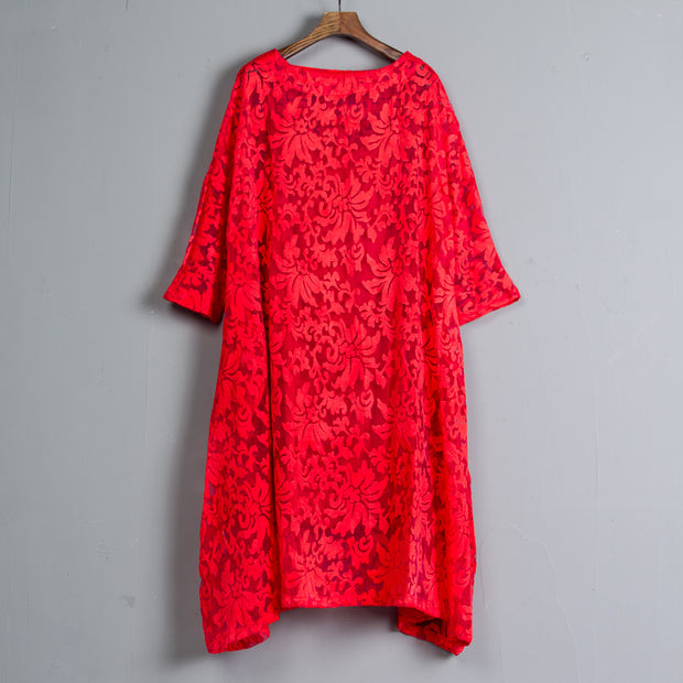 Three-quarter Sleeve Pockets Two-piece Long Red Dress