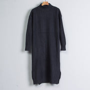 Women Mock Neck Long Sleeve Black Knitted Sweater Dress