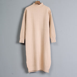 Women Mock Neck Long Sleeve Beige Knitted Sweater Dress