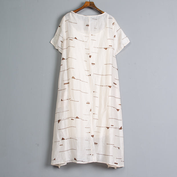 Short Sleeve Pockets Summer Casual Two-piece Long Dress