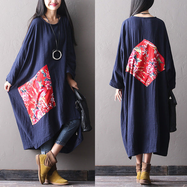 Women  winter long  loose cotton dress - Tkdress  - 1