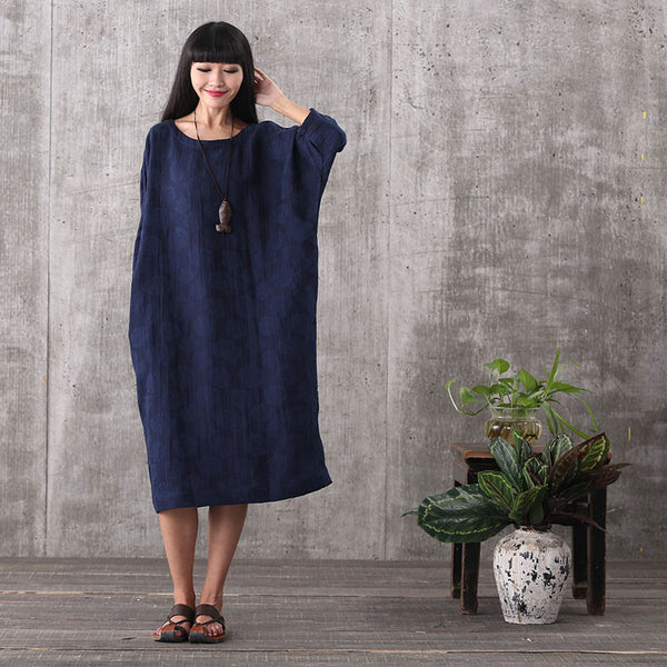 Women loose printing pullover cotton linen plus size dress