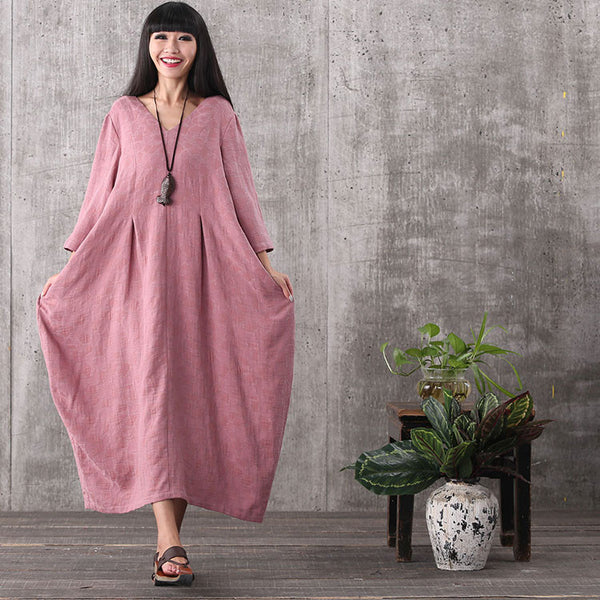 Women 3/4 sleeve loose backless cotton plus size dress with pockets - Buykud