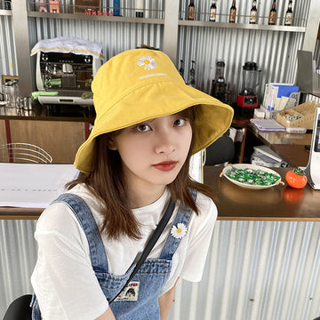 Daisy Embroidery Summer Sunscreen Polyester Cotton Bucket Hat
