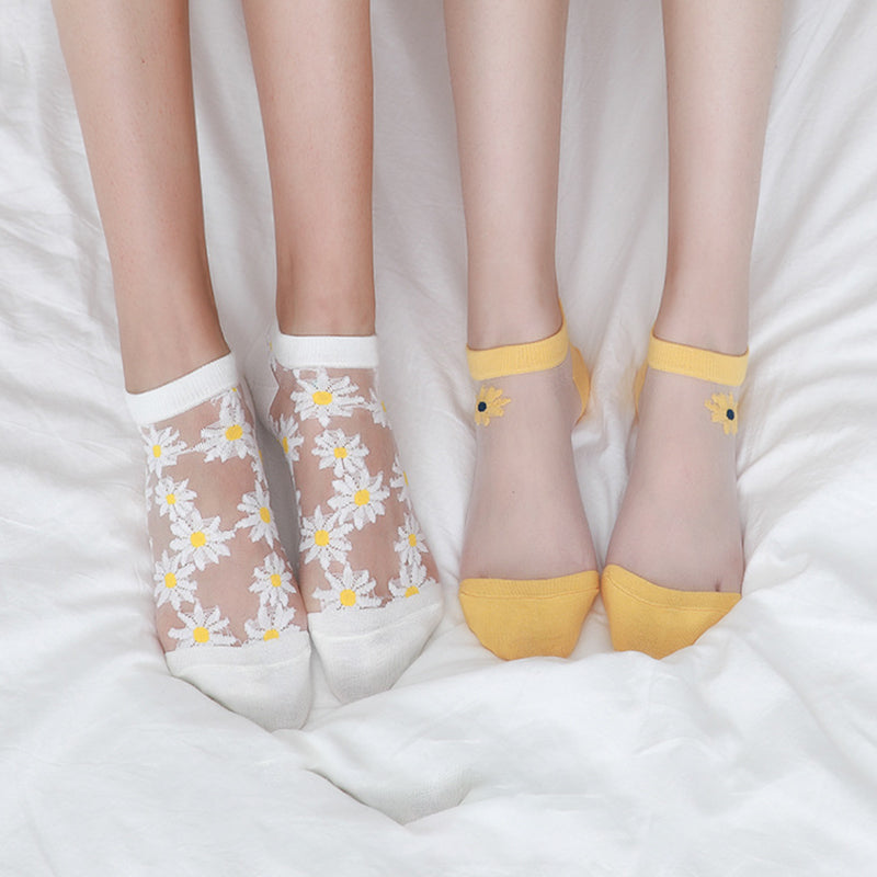 Daisy Embroidery Transparent Summer Socks