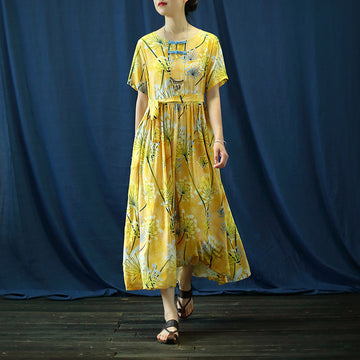 Dandelion Prints Handmade Frog Cotton Linen Dress