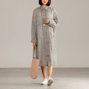 Dark Gray Linen Plaid Casual Autumn Shirtdress