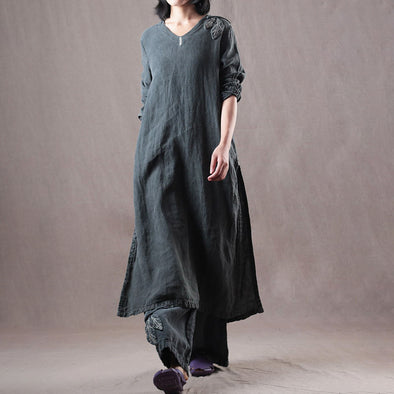 Dark Gray Women Linen Slit Top And Elastic Waist Pants