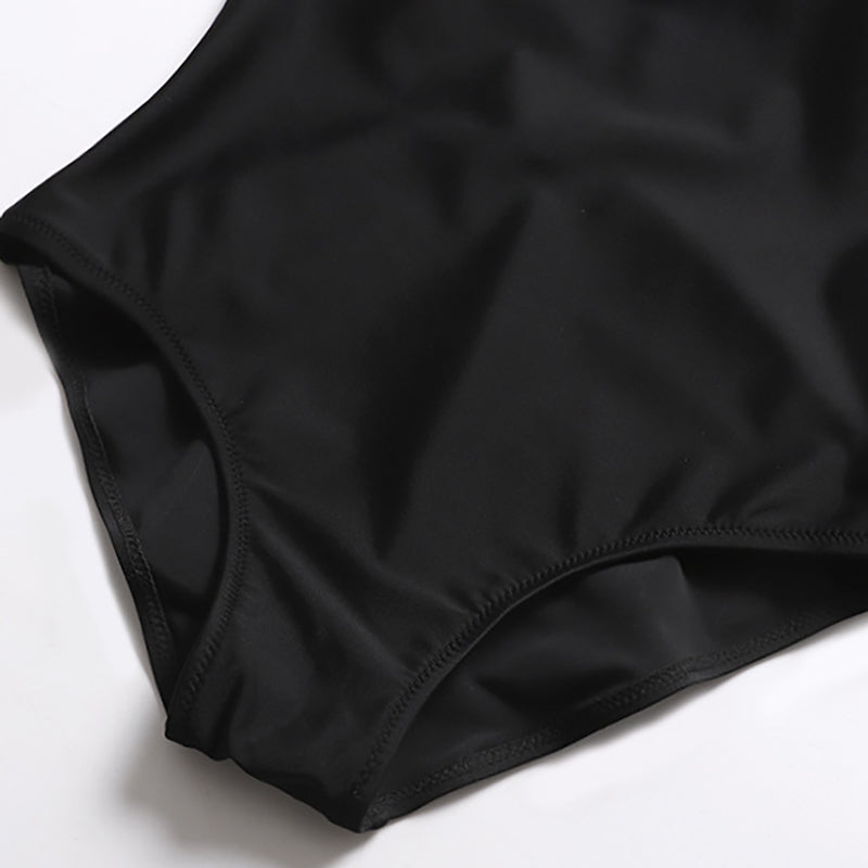 Deep V Back Simple Black One-piece Swimsuit