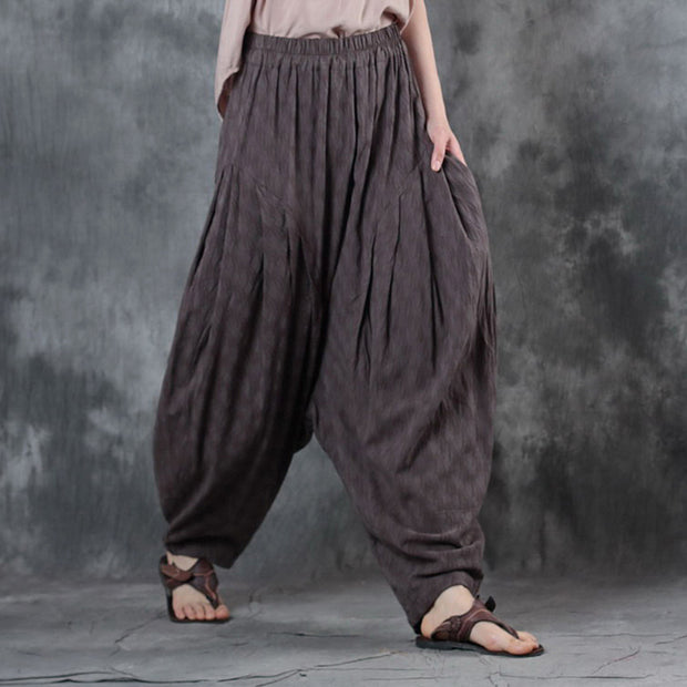 Deep Crotch Pleated Loose Women Jacquard Linen Pants