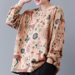 Deer Print Female New Sweater Loose
