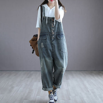 Denim Cotton Women Breasted Casual Hole Jumpsuits Dungarees