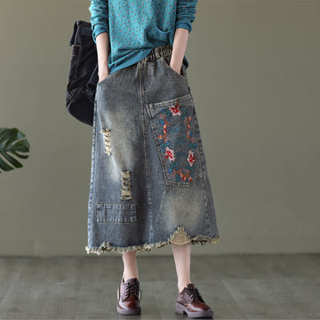 Denim Pocket Embroidery Distressed Skirt