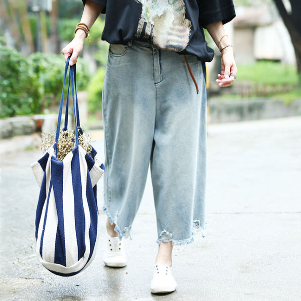 Denim Blue Casual Vintage Jeans Women Wide Leg Pants