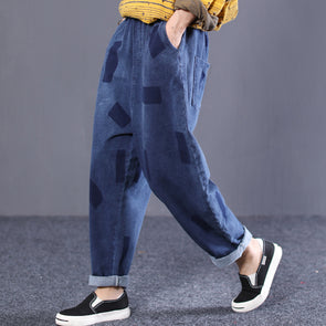 Denim Blue Women Loose Pants Pockets Jeans