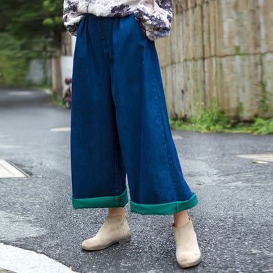 Denim Loose Burrs Dark Blue Elastic Waist Flare Pants