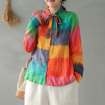 Digital Print Lacing Rainbow Shirt