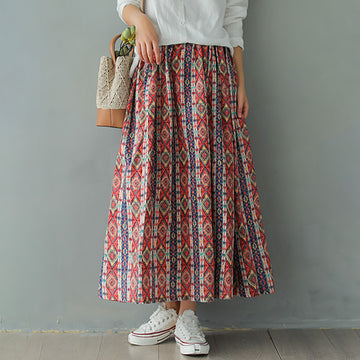 Digital Printed Linen A-line Skirt