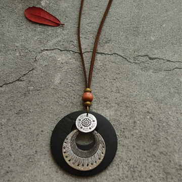 Distressed Wood Alloy Double Ring Pendant Long Necklace