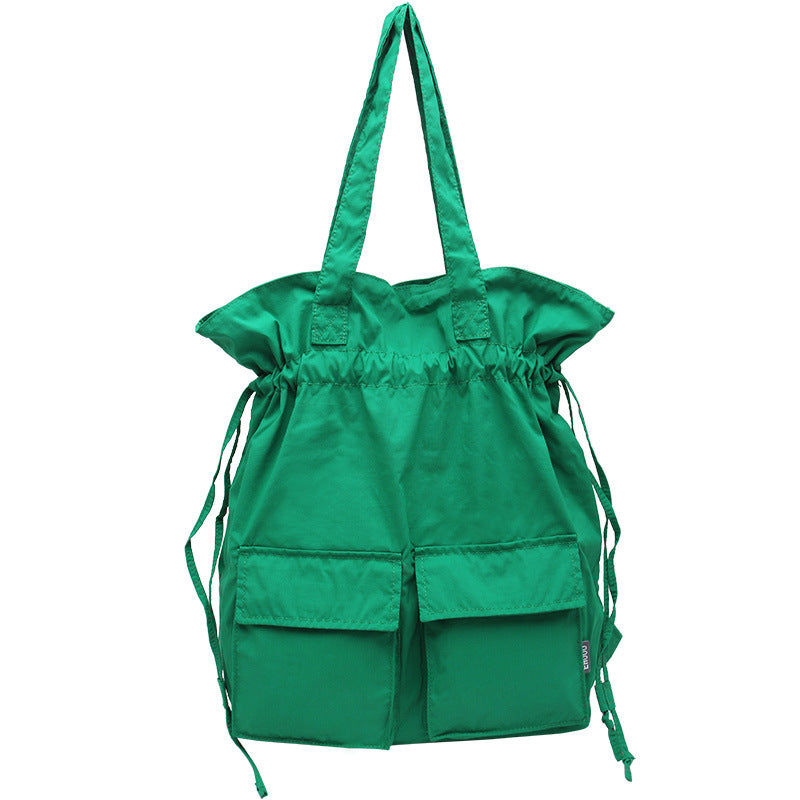 Double Front Pockets Simple Drawstring Backpacks