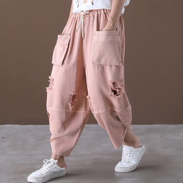 Double Pockets Hole Distressed Cotton Pants