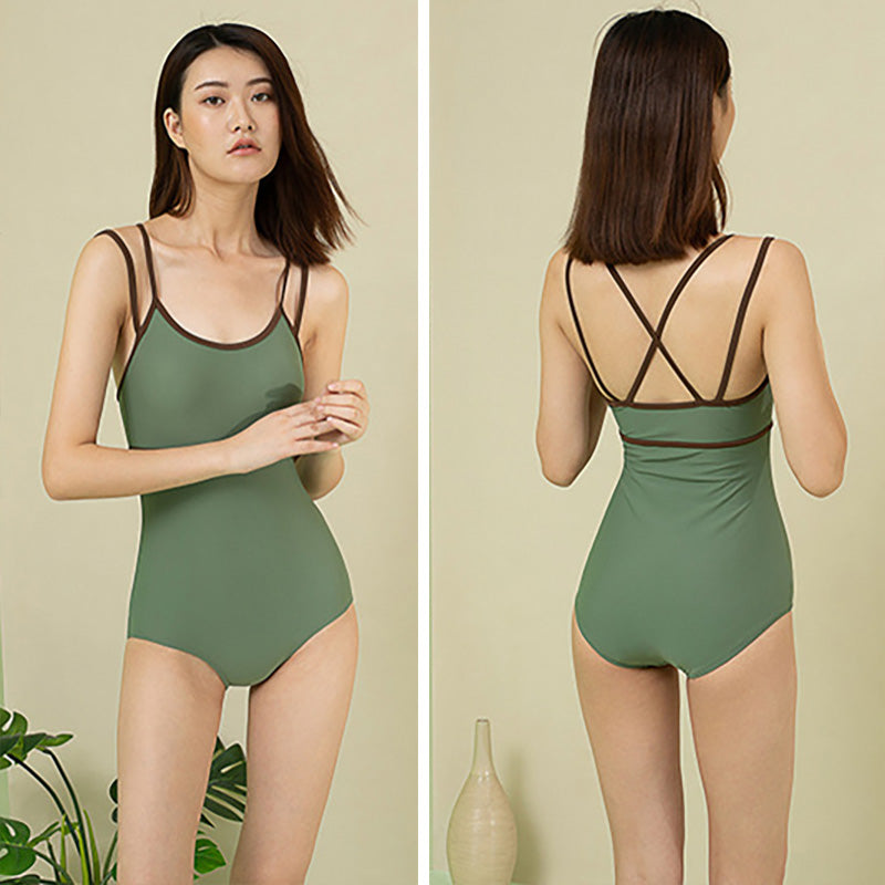 Double Straps Solid Color One Piece Swimsuit